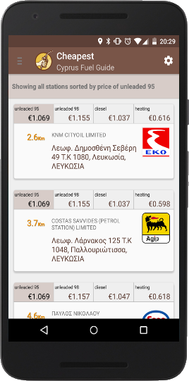 Cyprus Fuel Guide - App in device screenshot